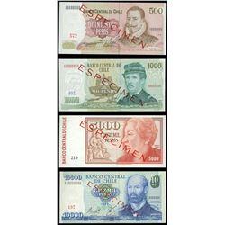 Lot of four Santiago, Chile, Banco Central, specimen pesos in leather display portfolio: 10,000 peso