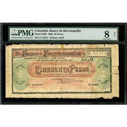 Barranquilla, Colombia, Banco de Barranquilla, 50 pesos, 26-7-1900, series O, serial 14575, PMG Very