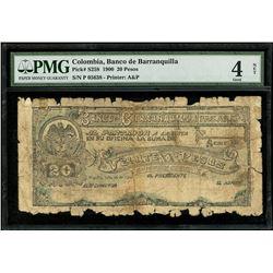 Barranquilla, Colombia, Banco de Barranquilla, 20 pesos, 26-7-1900, series P, serial 05638, PMG Good