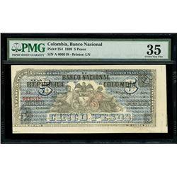 Bogota, Colombia, Banco Nacional, 5 pesos, 28-10-1899, series A, serial 000518, PMG Choice VF 35, fi
