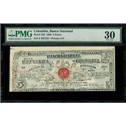 Bogota, Colombia, Banco Nacional, 5 pesos, 28-10-1899, series E, serial 897233, PMG VF 30.