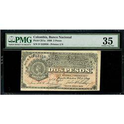 Bogota, Colombia, Banco Nacional, 2 pesos, 28-10-1899, series D, serial 243956, woman faces left, PM