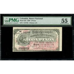 Bogota, Colombia, Banco Nacional, 2 pesos, 28-10-1899, series I, serial 147733, woman faces right, P