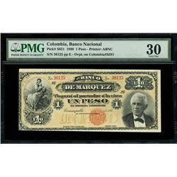 Bogota, Colombia, Banco Nacional, 1 peso, 30-10-1899 overprint on Barranquilla, Colombia, Banco de M