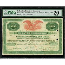 Bogota, Colombia, Banco de Colombia, 50 centavos (or) 2/- shillings remainder, 1-9-1918, series Y, P