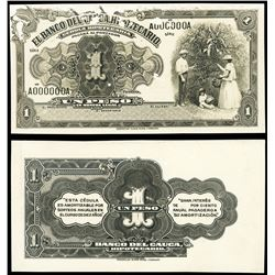 "Popayan, Colombia, Banco del Cauca, Hipotecario, bromide ""photographic"" proof 1 peso, ND (1880s), se"