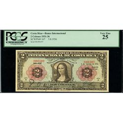 San Jose, Costa Rica, Banco Internacional, 2 colones, 5-8-1936, PCGS VF 25, series B, serial 896597,