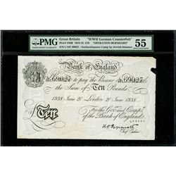 London, Great Britain, Bank of England, counterfeit 10 pounds, 20-6-1938, block L107, serial 69027,