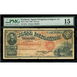 Trujillo, Honduras, Aguan Navigation and Improvement Company, 10 pesos, 25-6-1886, serial B111, PMG