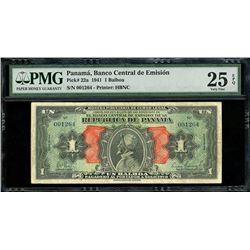 "Panama, Banco Central de Emision, 1 balboa, 1941, series of 1941, serial 001264, ""Arias"" note, PMG V"