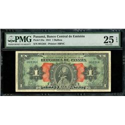 "Panama, Banco Central de Emision, 1 balboa, 1941, series of 1941, serial 001264, ""Arias"" note, PMG V"