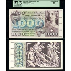 Zurich, Switzerland, Banque Nationale Suisse, 1,000 franken, 4-10-1957, serial 2C43349, PCGS Choice
