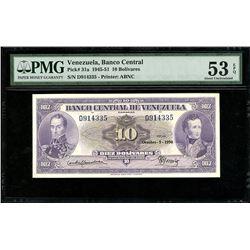 Caracas, Venezuela, Banco Central, 10 bolivares, 5-10-1950, serial D914335, PMG AU 53 EPQ.