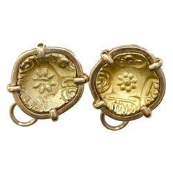 Pair of gold Indian coins (AV padmatankas, Yadavas of Devagiri, 1200s) mounted in 14K gold earrings