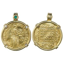Holland, United Netherlands, gold ducat, 1802, mounted knight-side out in 18K gold bezel with emeral