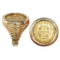 Portugal (Lisbon mint), 1000 reis, Joao V, 1745, mounted cross-side out in 14K men's gold ring (size