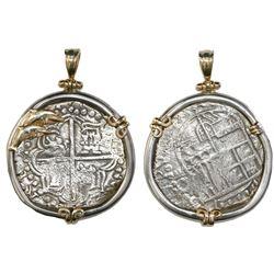 Potosi, Bolivia, cob 8 reales, Philip III, assayer T, Grade 1, from the Atocha (1622), certificate m