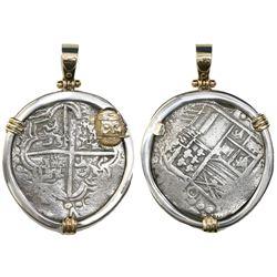 Potosi, Bolivia, cob 8 reales, Philip III, assayer T, quadrants of cross transposed, Grade 2, from t