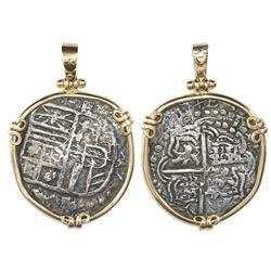 Potosi, Bolivia, cob 4 reales, Philip III, assayer T, quadrants of cross transposed, Grade 2, from t