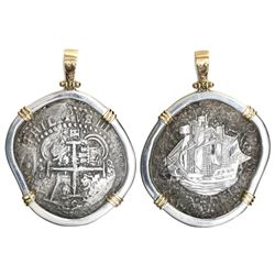 Potosi, Bolivia, cob 8 reales, 1652E (post-transitional), from the Capitana (1654), mounted cross-si