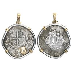 Potosi, Bolivia, cob 8 reales, 1653E, from the Capitana (1654), mounted cross-side out in silver bez
