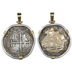 Potosi, Bolivia, cob 8 reales, 1654E, from the Capitana (1654), mounted cross-side out in silver bez