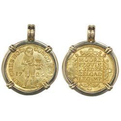 Holland, United Netherlands, ducat, 1729, from the Vliegenthart (1735), mounted in 18K pendant bezel