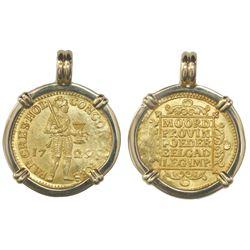 Holland, United Netherlands, ducat, 1729, from the Vliegenthart (1735), mounted in 18K pendant bezel