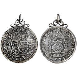 Mexico City, Mexico, pillar 8 reales, Philip V, 1734MF, from the Hollandia (1743), mounted pillars-s