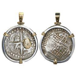 "Potosi, Bolivia, cob 8 reales, Philip IV, assayer not visible, ex-""Panama hoard,"" mounted cross-side"