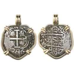 Potosi, Bolivia, cob 4 reales, 1747q, mounted cross-side out in 14K bezel.