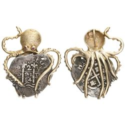 """Potosi, Bolivia, cob 2 reales, 1684V, mounted pillars-side out in 14K gold """"octopus"""" pendant with ru"""