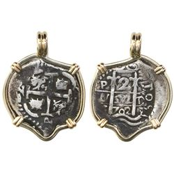 Potosi, Bolivia, cob 2 reales, 1702Y, mounted pillars-side out in 14K bezel.