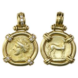 Carthage in Zeugitania, electrum stater, ca. 350-320 BC, aligned axis, mounted in 18K gold bezel wit