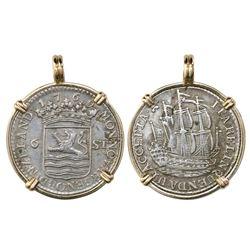 "Zeeland, Netherlands, 6 stuivers ""ship shilling,"" 1769, mounted in 14K gold bezel."