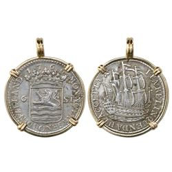 "Zeeland, Netherlands, 6 stuivers ""ship shilling,"" 1769, mounted in 14K gold bezel."