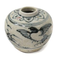 "Small Chinese blue-on-white porcelain jarlet with bird motif, intact, from the ""Hoi An Hoard"" (late"