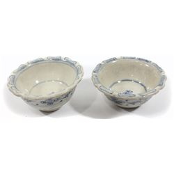 "Lot of two small Chinese blue-on-white porcelain teacups with flower motif, intact, from the ""Hoi An"