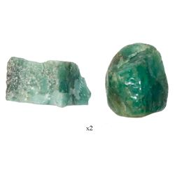 Lot of two natural emeralds, 6.04 and 8.22 carats, from the Maravillas (1656).