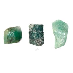 Lot of three natural emeralds, 4.45, 4.51 and 6.10 carats, from the Maravillas (1656).