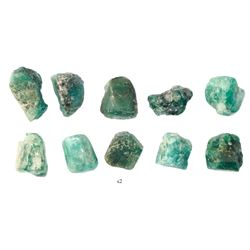 Lot of ten natural emeralds, 2-3 carats each, from the Maravillas (1656).