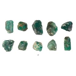 Lot of ten natural emeralds, about 2 carats each, from the Maravillas (1656).