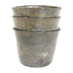Clump of three silver cups from the 1733 Fleet.