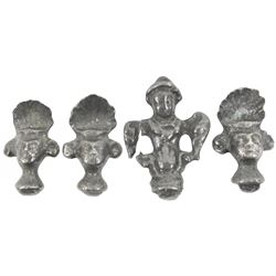 Lot of four silver finials (game tokens?) from the Luz (1752), ex-Castells & Castells (1997).