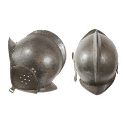Rare early European or Spanish burgonet helmet, 1500s-1600s.