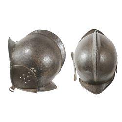 Rare early European or Spanish burgonet helmet, 1500s-1600s.