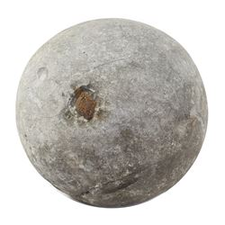 Large stone cannonball with rusted spike, 1500s.