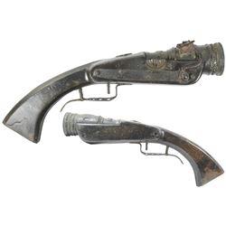 Rare European brass-barreled matchlock hand mortar, 1600s-1700s.
