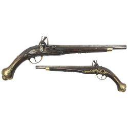 European flintlock large caliber holster pistol, 1700s.