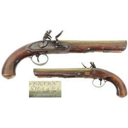 British officer's brass barrel pistol, made by John Sharpe, 1811-1831.